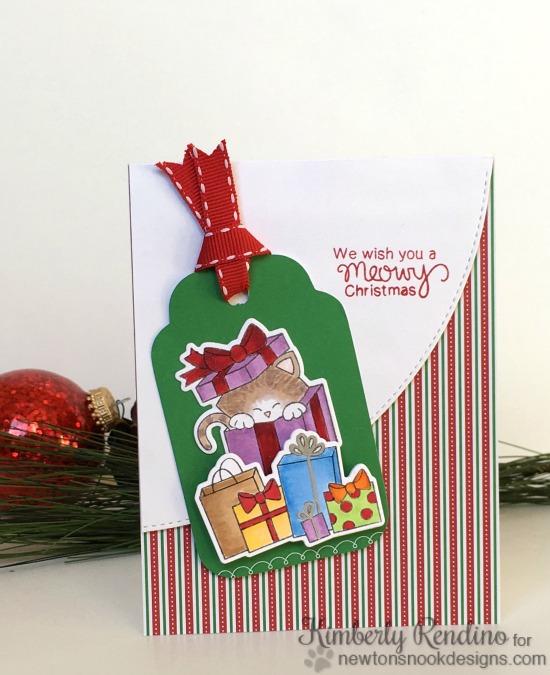 Meowy Christmas Cat Card by Kimberly Rendino | Newton's Christmas Cuddles Stamp & Die set by Newton's Nook Designs #newtonsnook