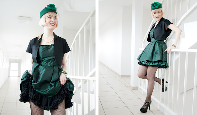green, dress, retro, petticoat