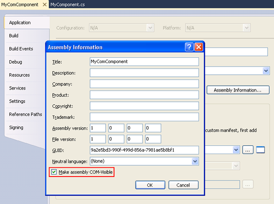 Assembly Information DIalog Box