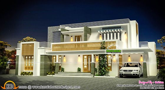 Flat roof contemporary home exterior plan