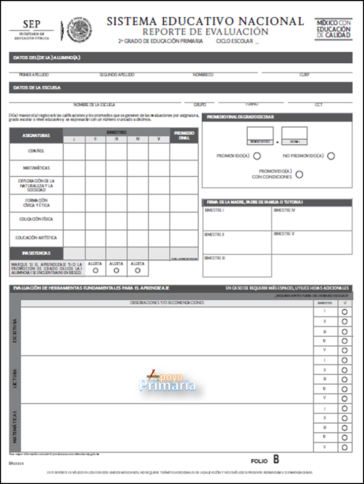 Reporte de Evaluación para Segundo Grado 2014 - 2015