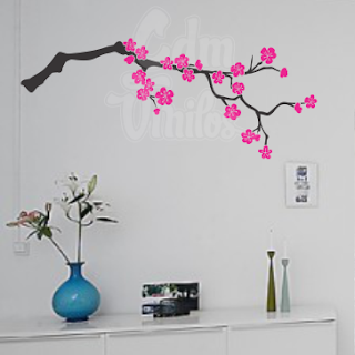 vinilo decorativo pared arbol flor de cerezo
