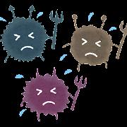 細菌・ばい菌のイラスト「困った顔のキャラクター」