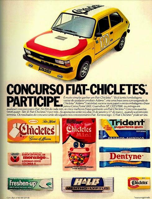 Propaganda do Concurso Fiat-Chicletes em 1982. Sorteio de um Fiat 147 personalizado.