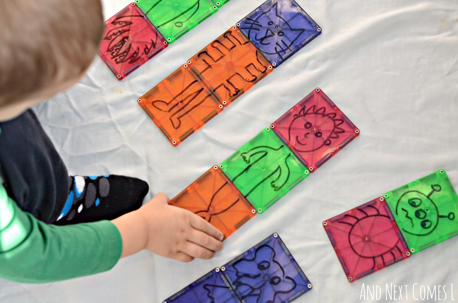 Simple DIY mix and match puzzles for toddlers and preschoolers using Magna-Tiles from And Next Comes L