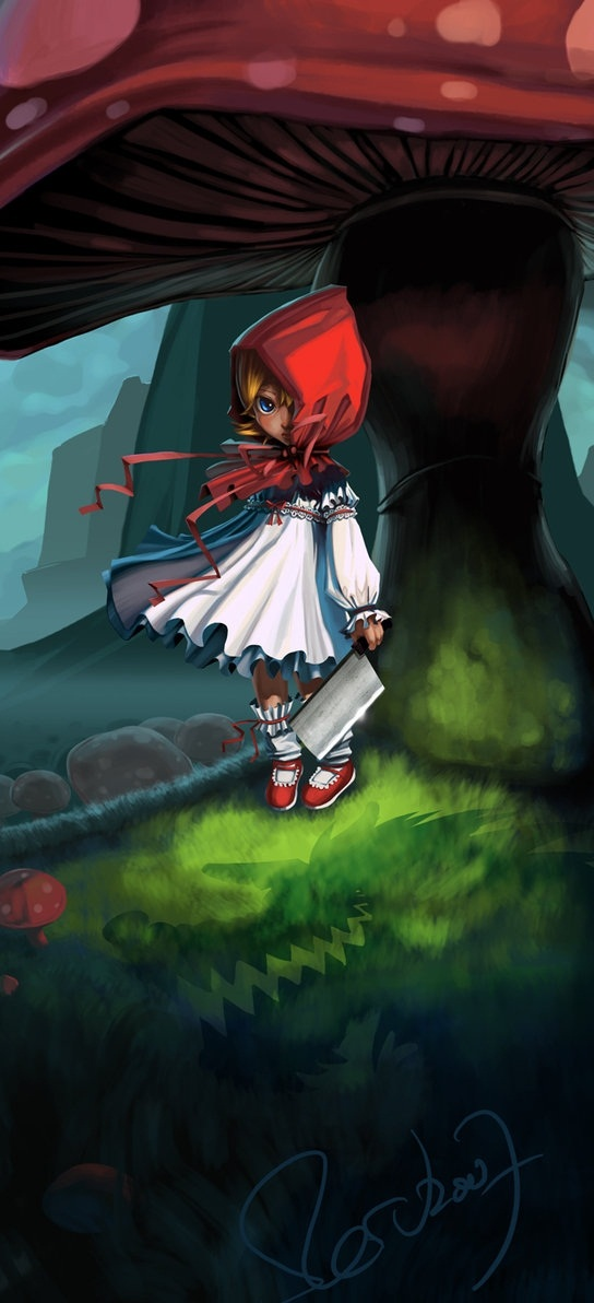 Lil' Red Ridding Hood, digital art children,fantasy child