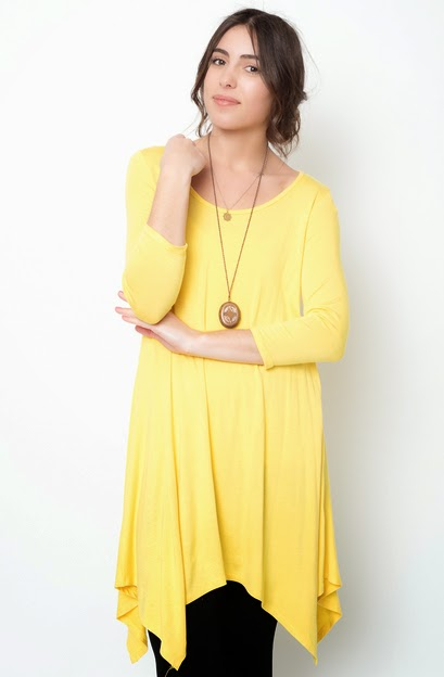 Buy online yellow asymmetrical oversized hem tee dress for women on sale