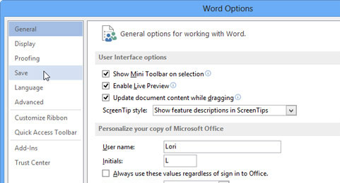 Cách thay đổi thời gian tự động lưu trong Word 2013