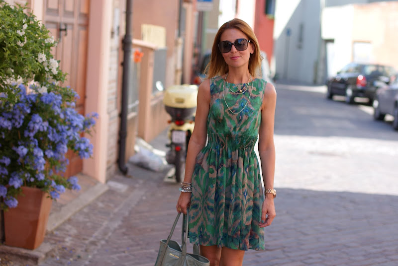 green Zara dress