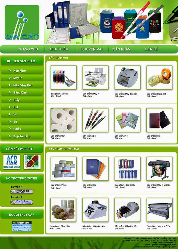 thiết kế website văn phòng phẩm chuyên nghiệp