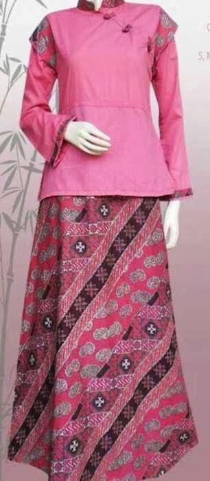 Model gamis batik empat contoh empat warna Baju gamis nevada