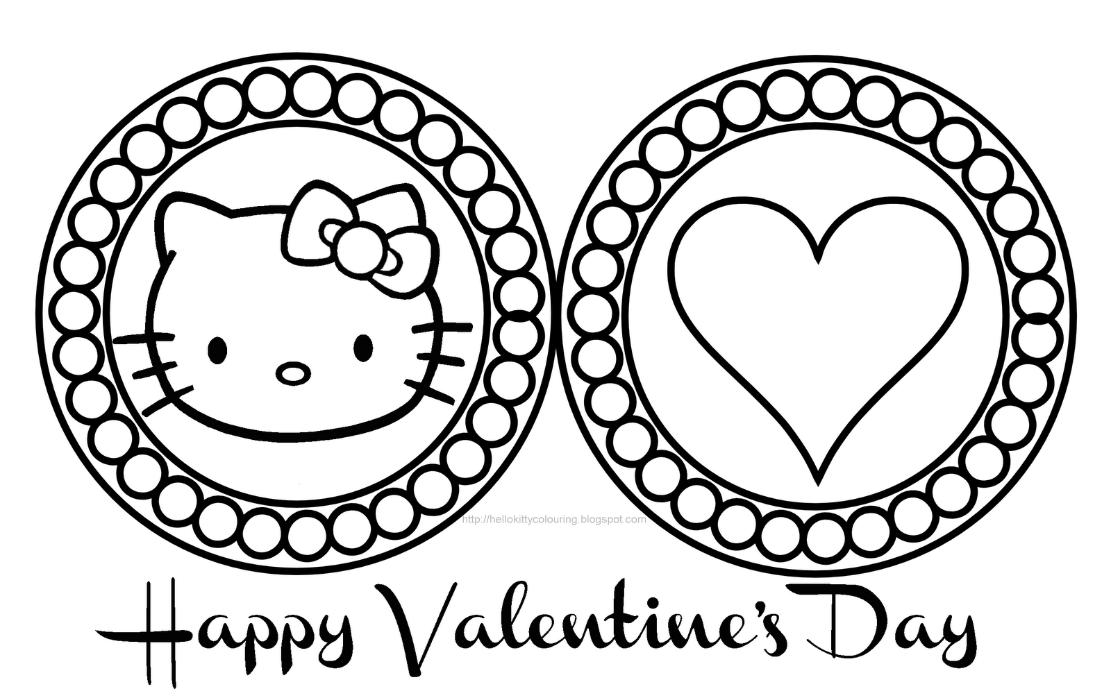 Coloring Pages For Valentines Day Hello Kitty : Hello kitty valentines day coloring pages