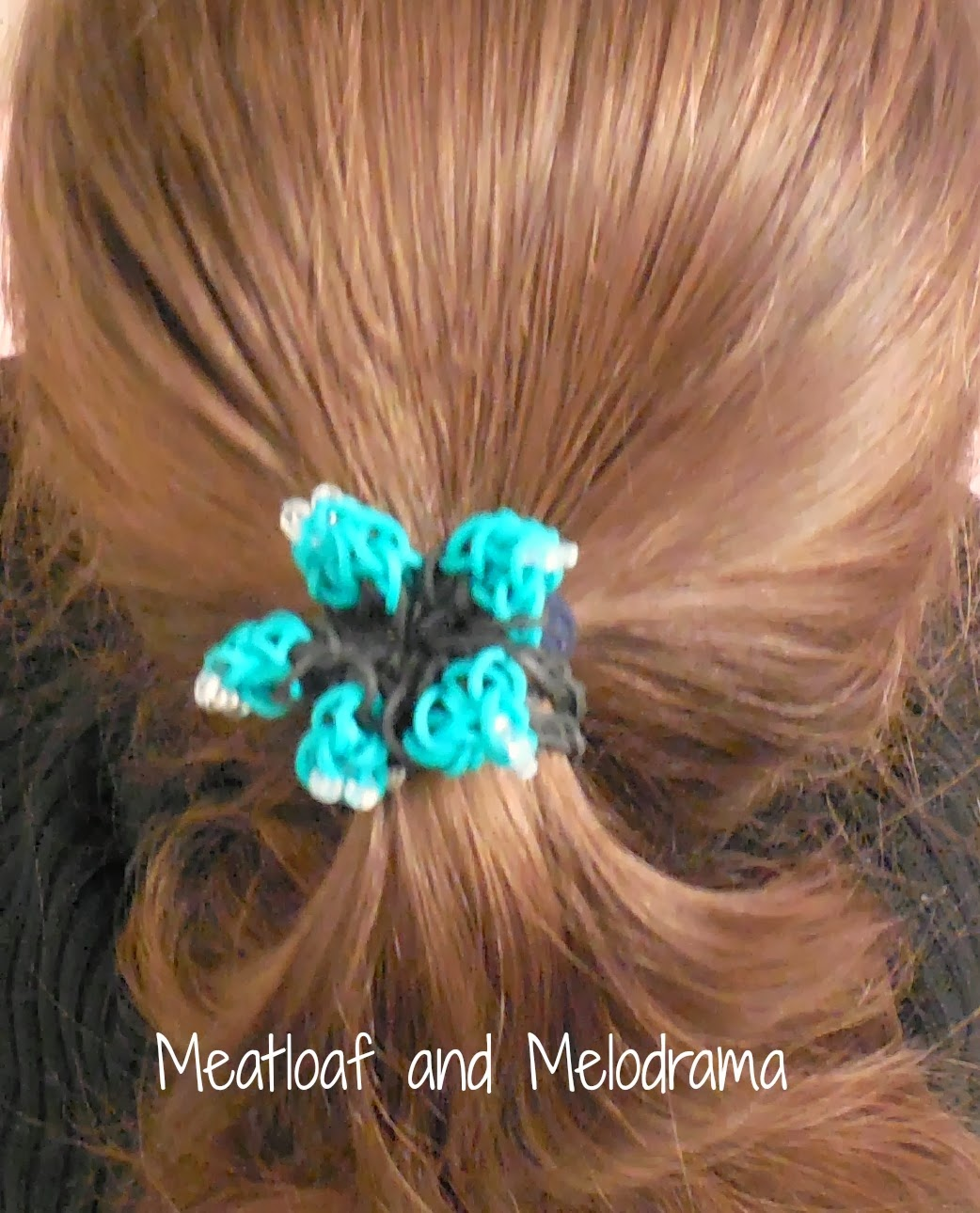 loom band hair tie, flower hair tie