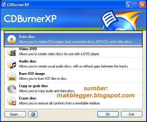 Ini adalah tampilan awal dari CD Burner XP