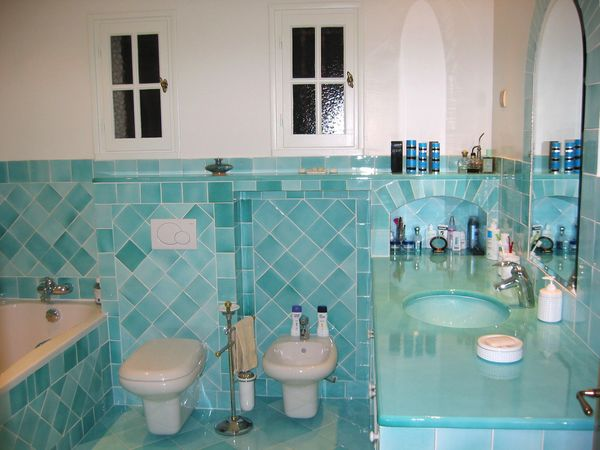 Cortinas de baño color turquesa ~ dikidu.com