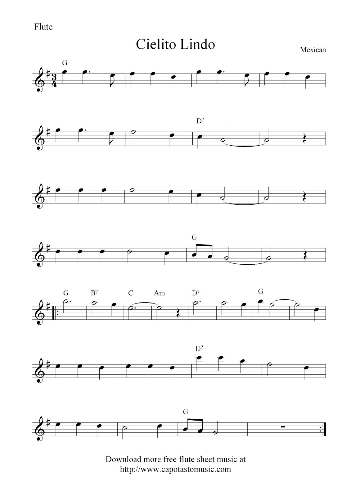 Free Sheet Music Scores: Cielito Lindo, free flute sheet music notes