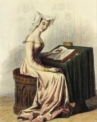 Mujer medieval escribiendo