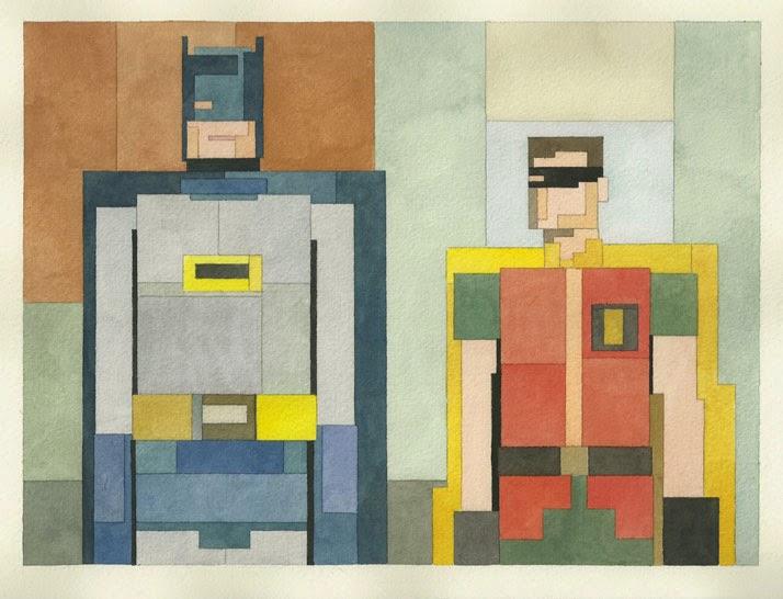 Adam Lister, acuarelas 8 bits, Batman y Robin