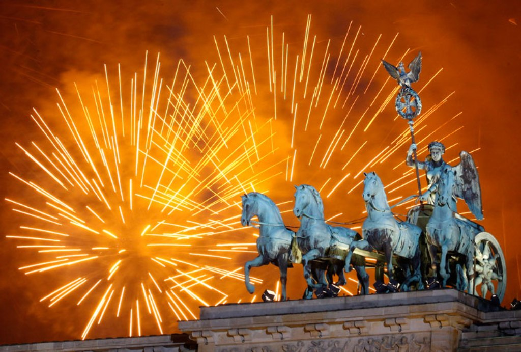 new year 2012 world top photos the quadriga at the brandenburg gate in berlin shortly after midnight germany