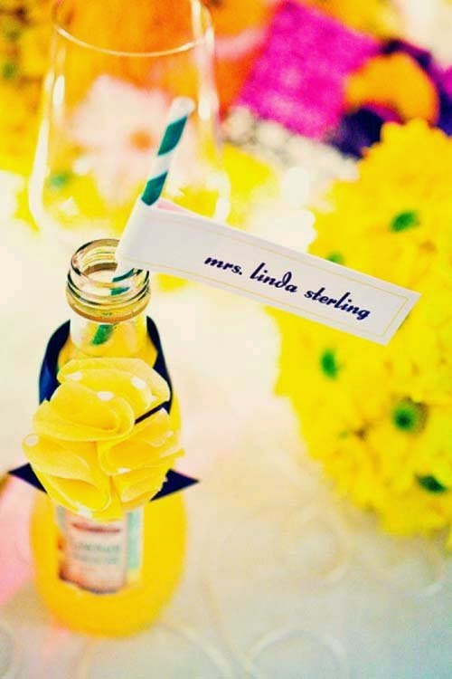 Wedding decoration ideas with yellow and black colors from Studio B Event Designs