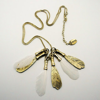 Feathers and gold brass necklace Protos fashion jewelery
