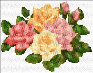 Rosas em ponto de cruz