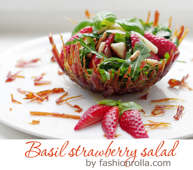 Basil strawberry salad recipe by xenia kuhn for fashionrolla.com