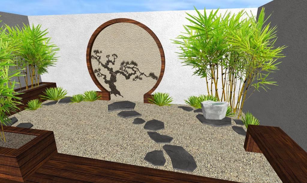 Diseño de un hermoso Jardín Pequeño Oriental Japonés  Renders 3D