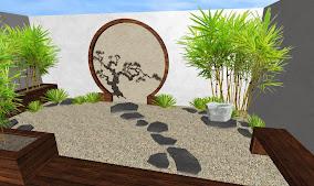 propuesta 1 diseno jardin oriental - piedra - estanque - puerta - bonsai - bambu