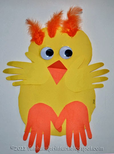 http://funhandprintartblog.com/2013/03/baby-handprint-chick-preschool-easter-craft.html