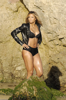 Ciara  wearing a black bikini for a music video shoot in Malibu
