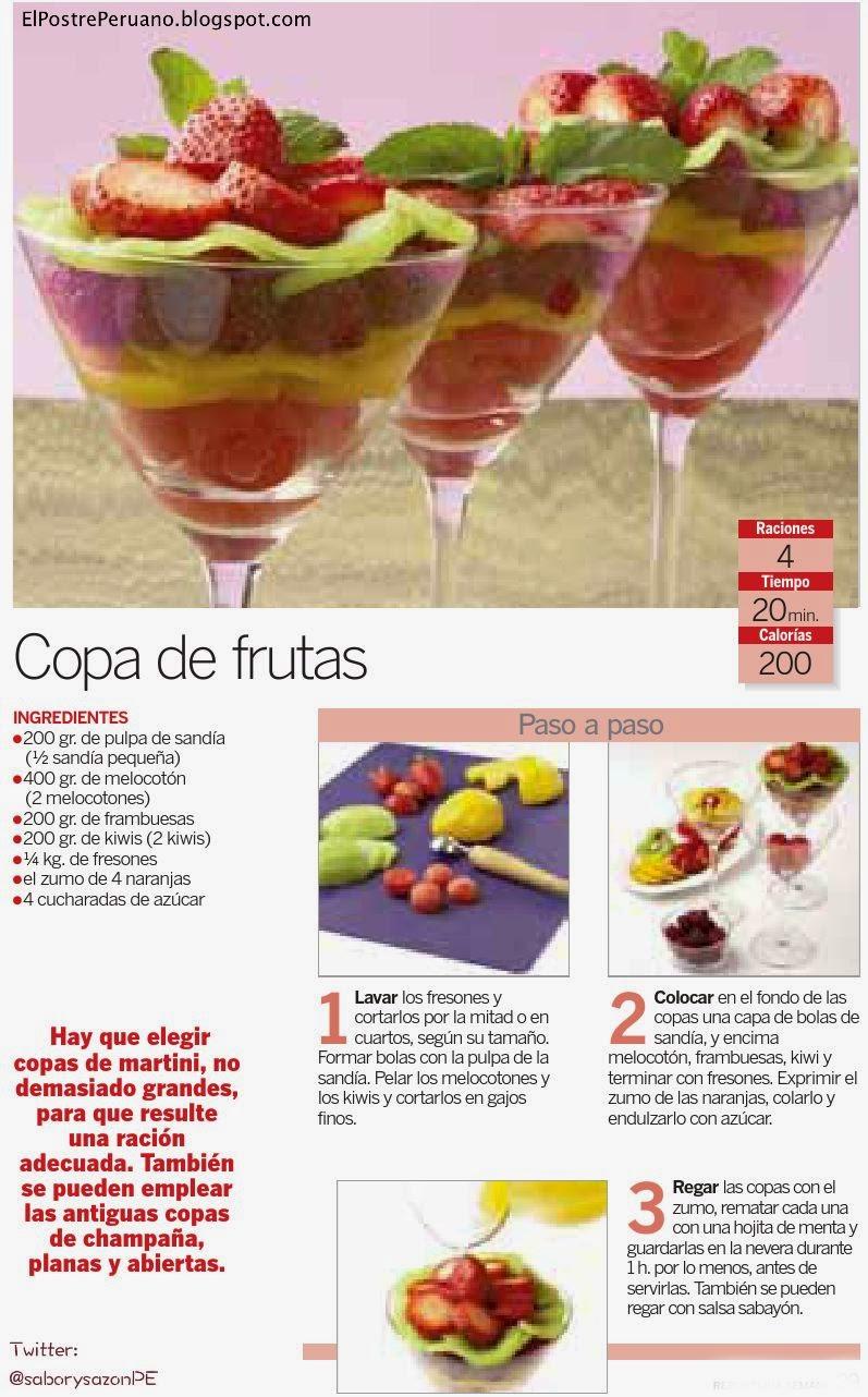 PREPARACIÓN DE COPA DE FRUTAS - RECETA SENCILLA  - recipes