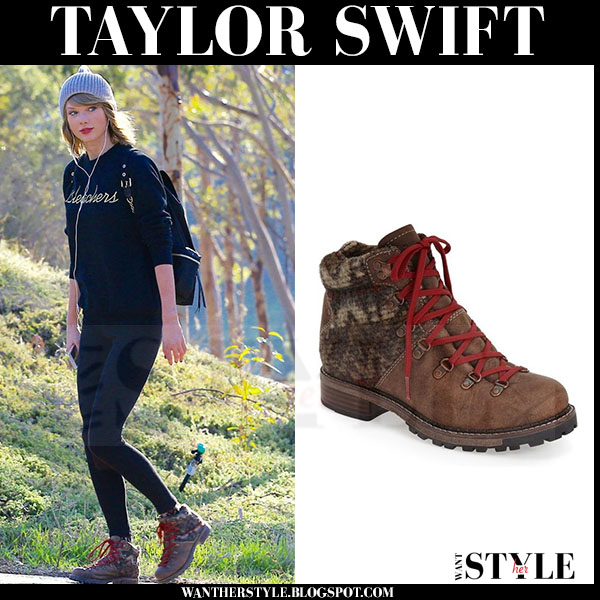 Taylor Swift in brown lace up hiking boots Woolrich rockies what she wore