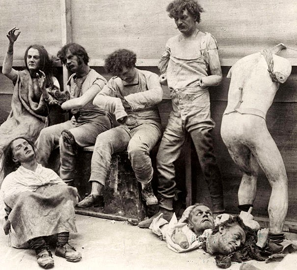 40 Must-See Photos Of The Past - Melted and damaged mannequins after a fire at Madam Tussaud's Wax Museum in London, 1930