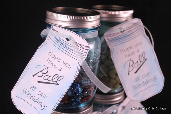 "Mason Jar wedding favors with free printable tags -- love mason jars and these tags and they are available to print in a variety of ""Ball"" jar sayings!"