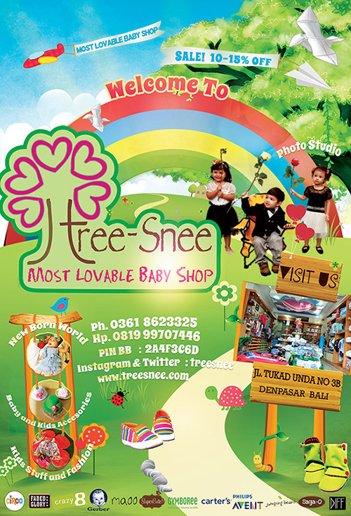 Exclusive flyer design for treesnee, most lovable baby shop on renon