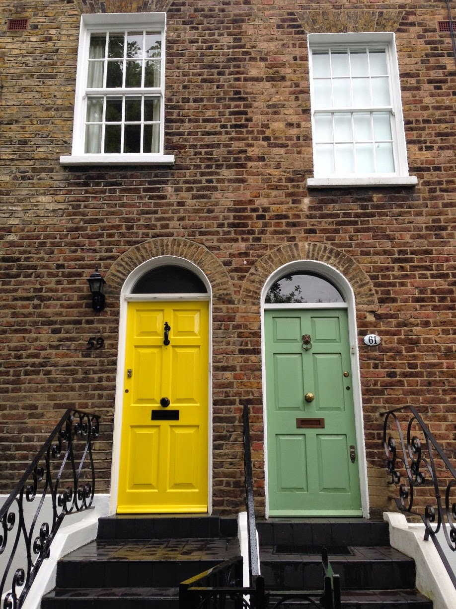 Brightly coloured doors, Hampstead, London NW3