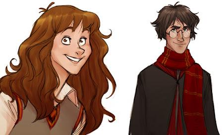 Personagens de Harry Potter redesenhados por Makini