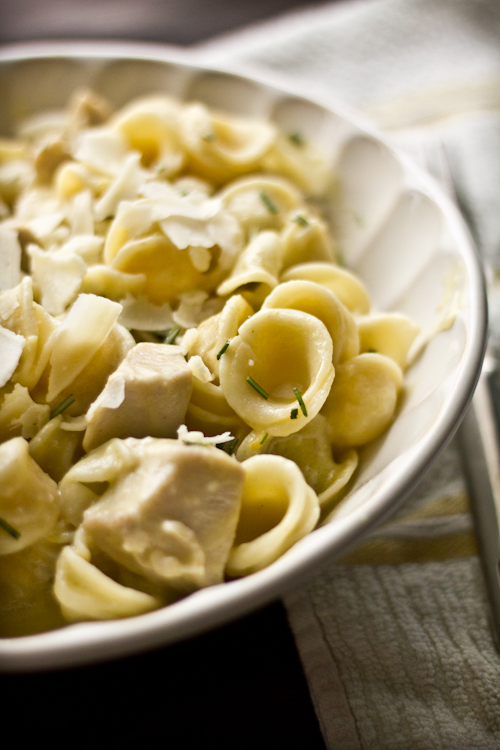 the orecchiette into a large bowl and add the lemon sauce and chicken ...