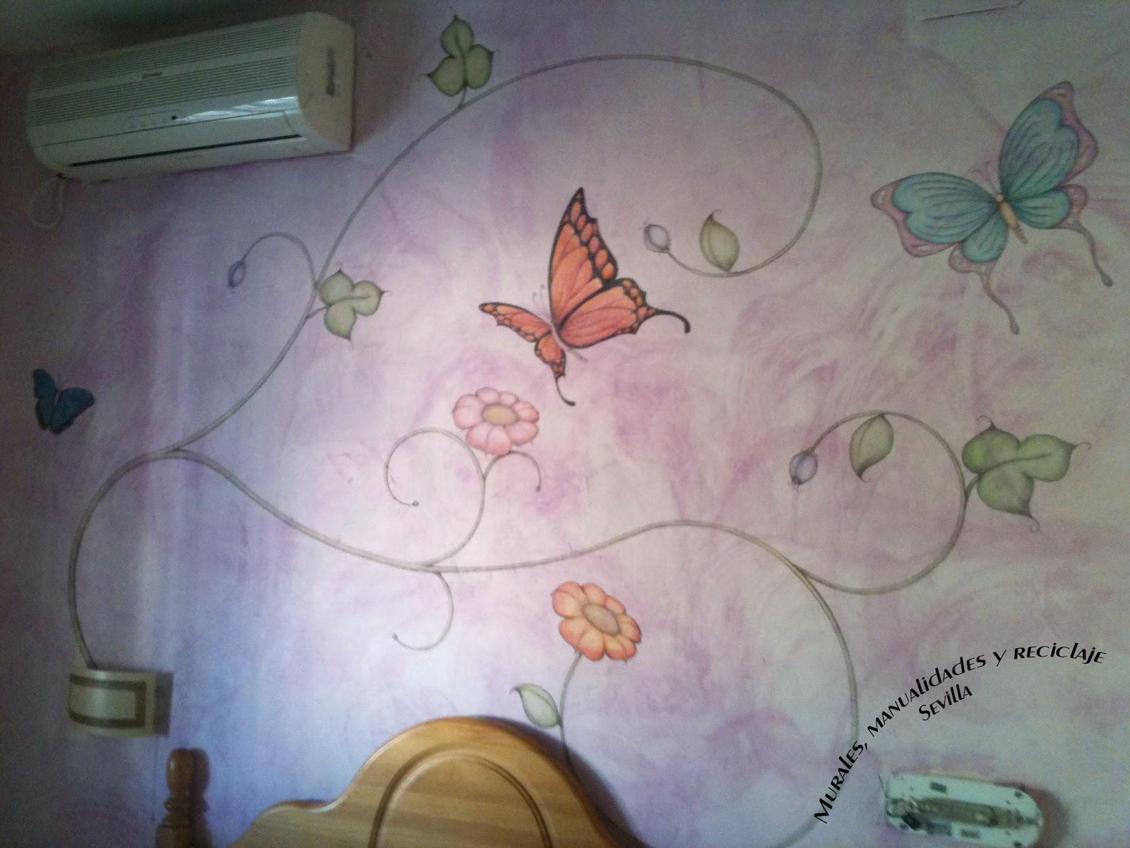 Murales manualidades y reciclaje sevilla mural for Mural de flores y mariposas