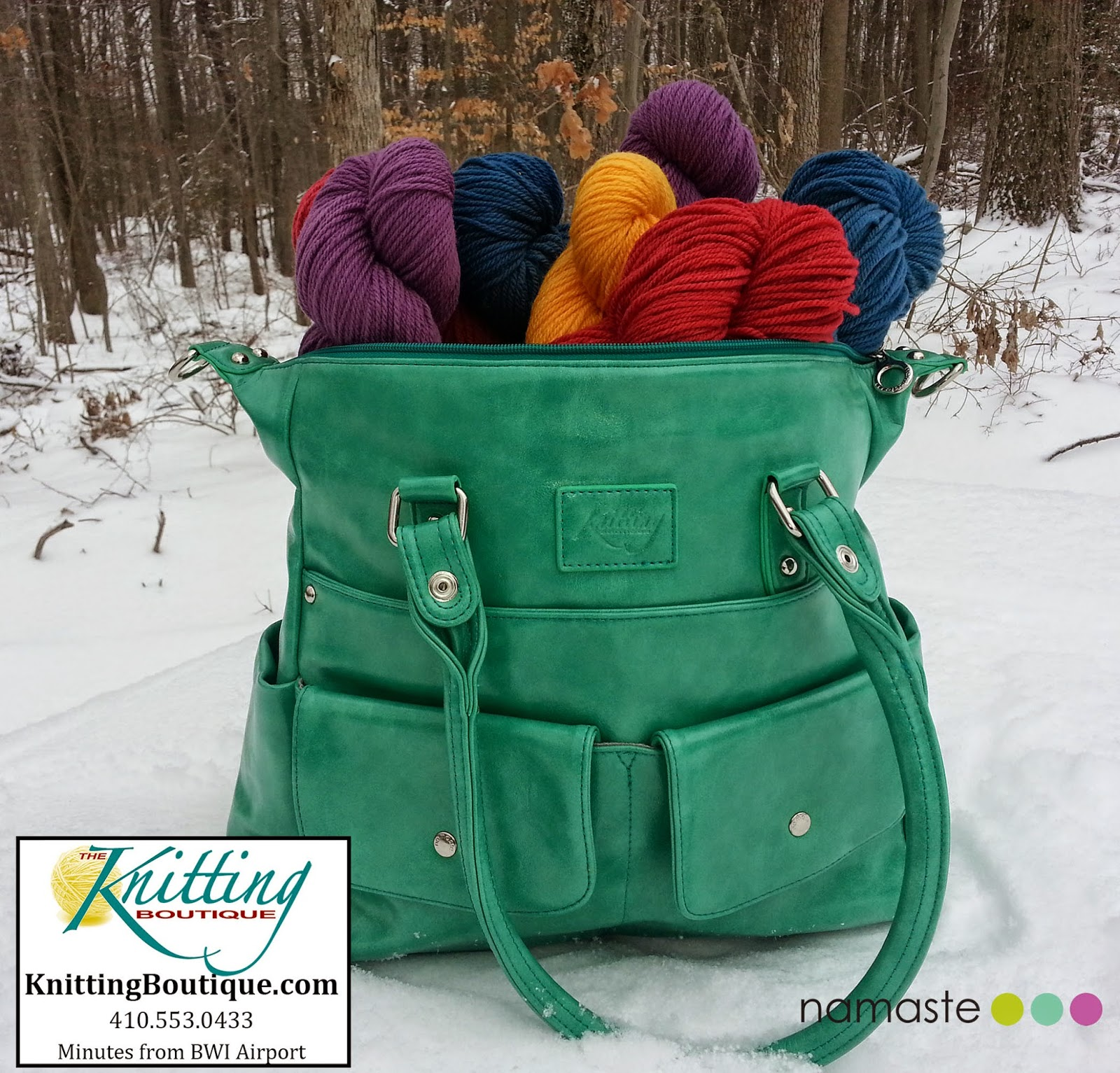 Namaste bag stuffed with wool from the Knitting Boutique