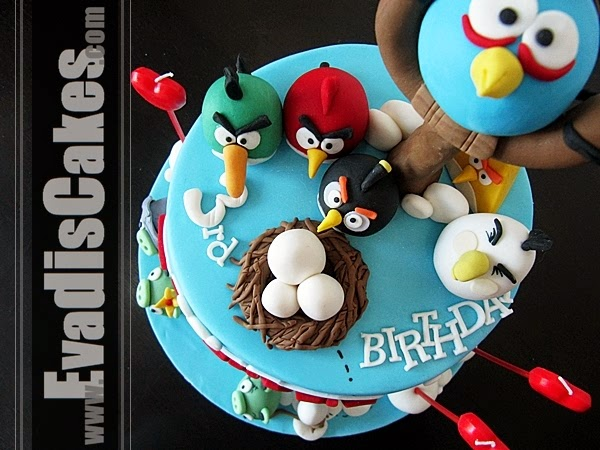Top view picture of Angry Bird cake