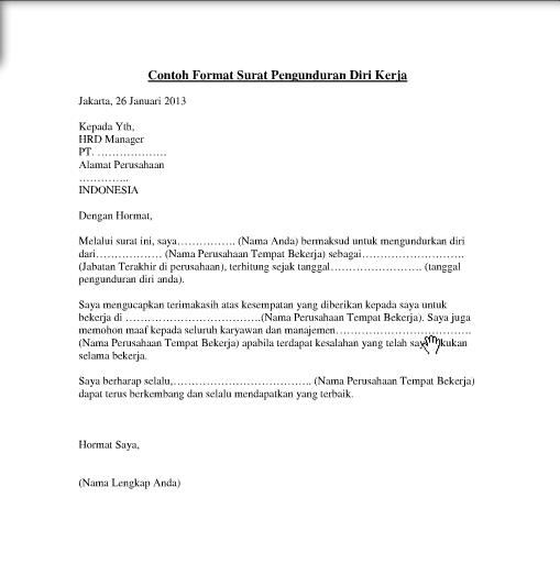Contoh Surat Pengunduran Diri Resign Kerja Yang Baik Dan Benar Merpati Tempur