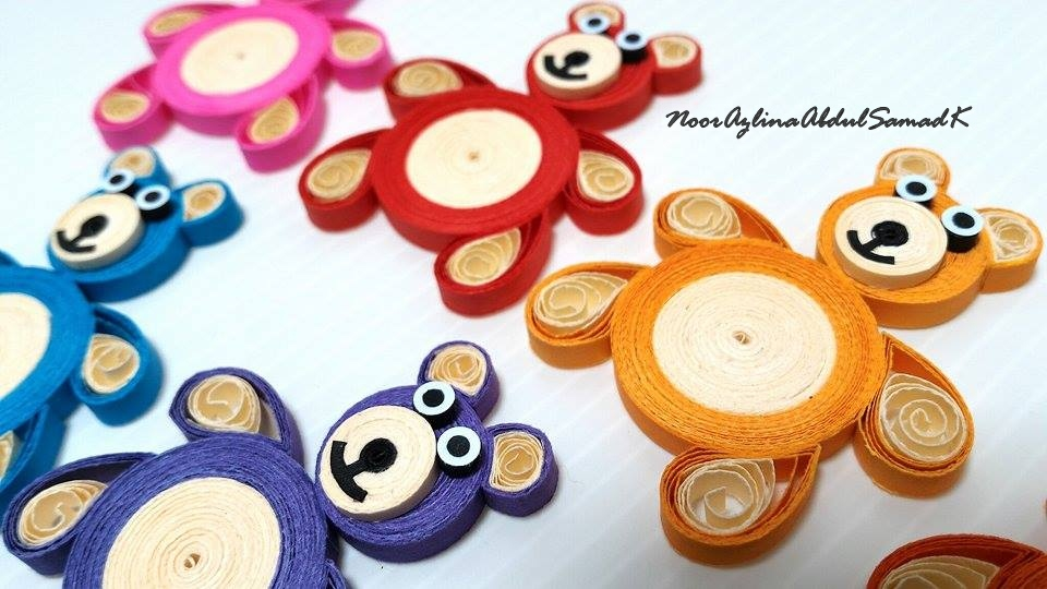 How to make a two tone quilling teddy bear for Big quilling designs