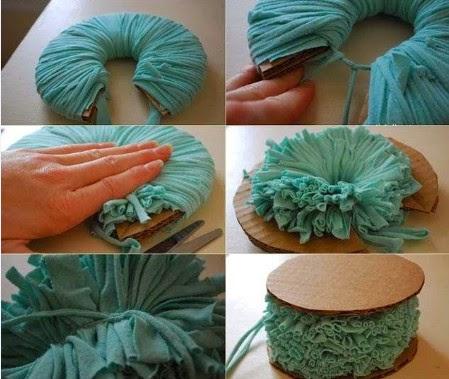 como hacer pompones de tela 3
