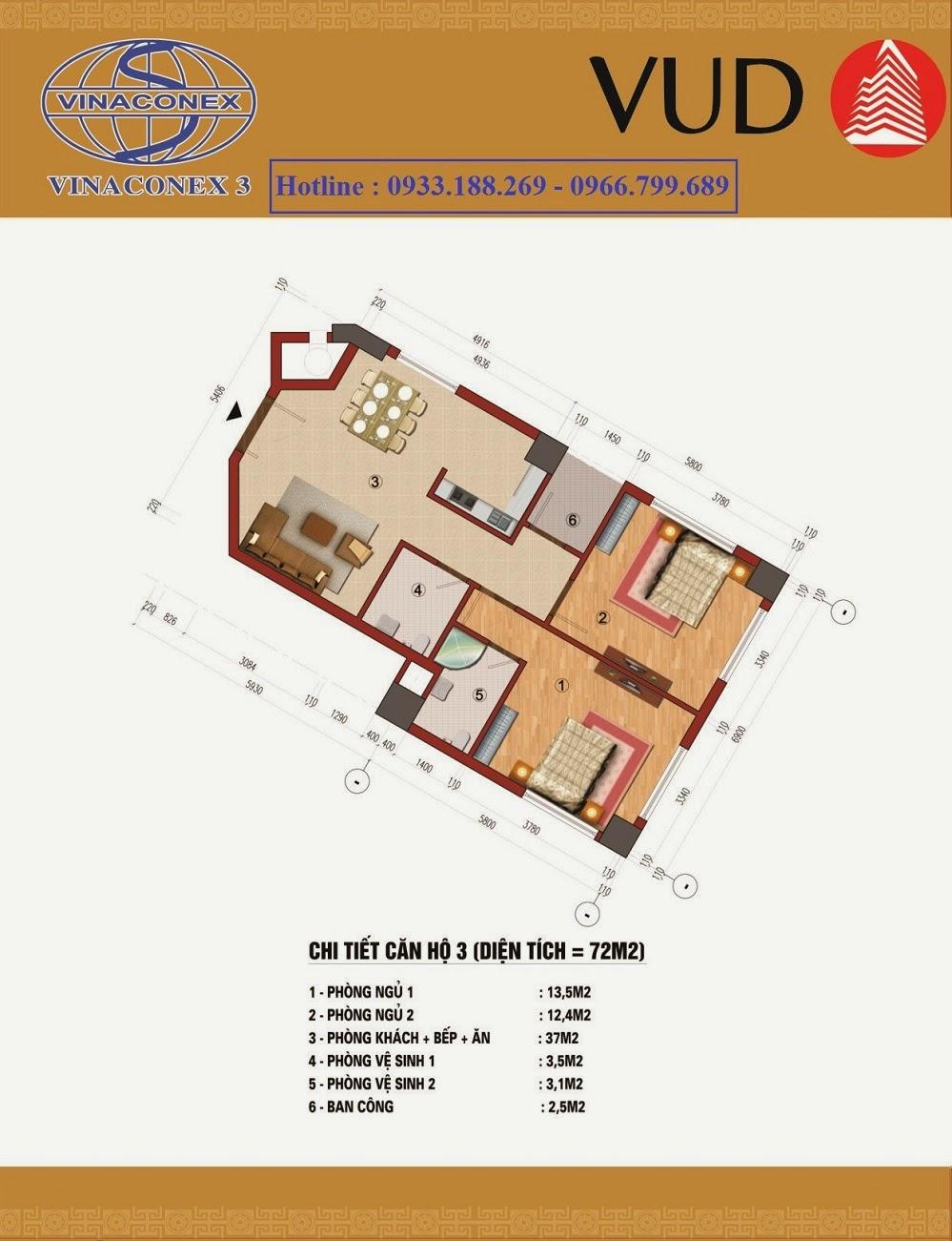 Căn 72m2, Chung cư CT1 Trung Văn - Vinaconex3
