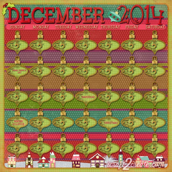 Digital, Photoshop, Calendar, December, Lettering Delights