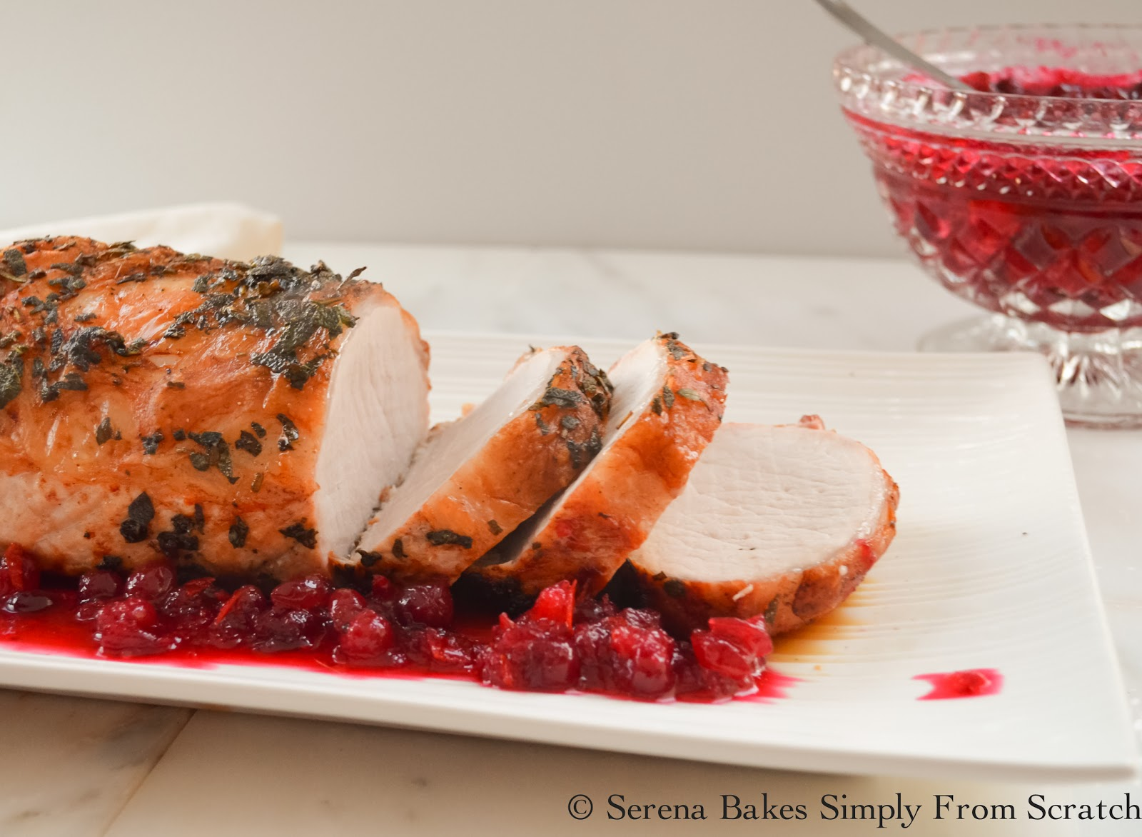 Rosemary Sage Pork Loin Roast is easy to make and perfect for Christmas! serenabakessimplyfromscratch.com