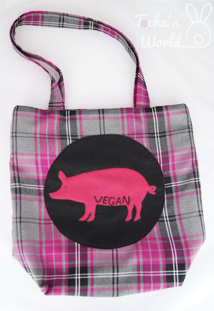 Vegan bag, vegan tartan, eco felt, Tocha's World