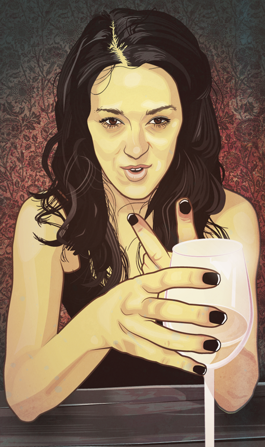 girl with wine glass digital portrait